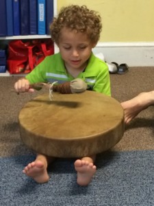 Drumming our names.